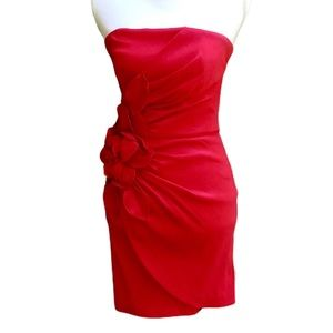 CACHE Red Strapless Flower Dance Party Dress 6